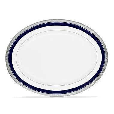 Noritake Crestwood Cobalt Platinum Oval Platter, 14-inches
