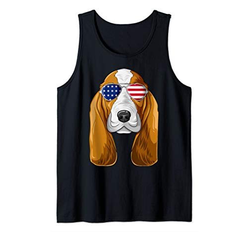 Patriotic Basset Hound American Flag Glasses 4th July Tank Top