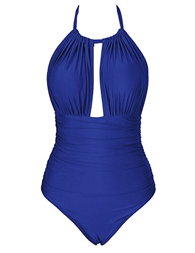luvamia Women's Royal Blue Ruched Halter Open Back One Piece Swimsuit Bathing Suit Swimwear Size XL (Blue One Suit Piece Royal Bathing)