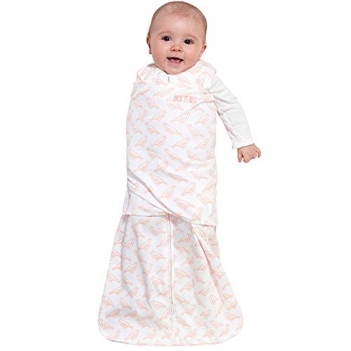 HALO 100% Cotton Sleepsack Swaddle, 3-Way Adjustable Wearable Blanket, TOG 1.5, Birdie Blush, Small, 3-6 Months