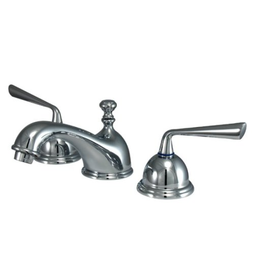 Kingston Brass KS3961ZL Two Handle 8 in. to 16 in. Widespread Lavatory Faucet with Brass Pop-up B0026ZPVEW 光沢クロム 光沢クロム