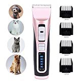AlfaView Dog Clippers Professional Cordless Pet Hair Grooming Kit 3-Speed&4-Length Adjustment 5 Level
