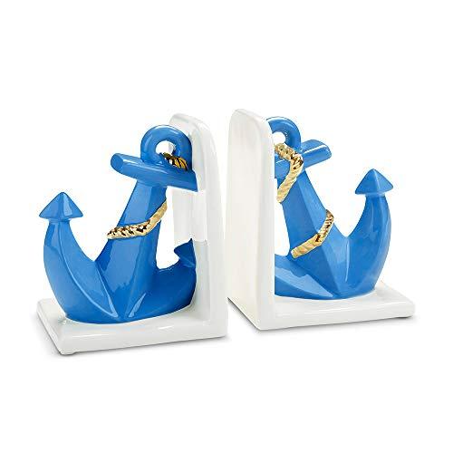 (Baby Aspen Anchor Porcelain Nursery Bookends, White/Light Blue/Gold )