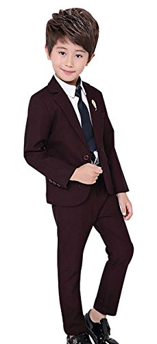 Luobobeibei Boy 3 Pieces Formal Suit Set Modern Fit Cutton Teens Tux Suit for Wedding Party Show with Jacket Pants Red Wine 5Y 120