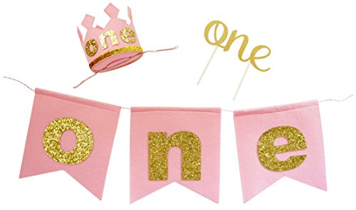PoshPeanut Baby Girls 1st Birthday Party Supplies Set - Banner, Crown, & Cake Topper ()