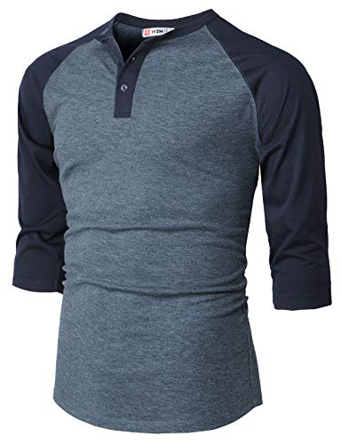 - H2H Men Casual Slim Fit Henley T-Shirt Raglan 3/4 Sleeve Spandex Blended T-Shirt HEATHERBLUE US XL/Asia 2XL (CMTTS232)