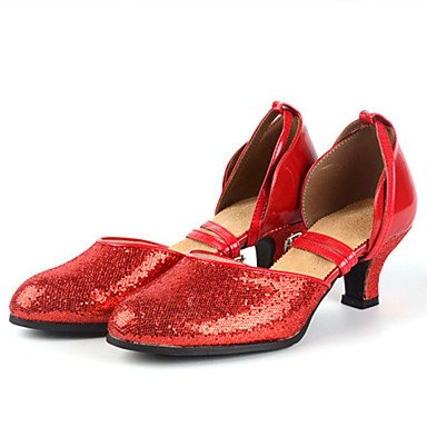 XIAMUO Nicht anpassbare Damen Tanzschuhe Latein Heels Stiletto Heel Praxis/Professional Schwarz/Rot/Silber/Gold, Golden, UNS 6,5-7/EU 37/ UK 4,5-5/CN 37
