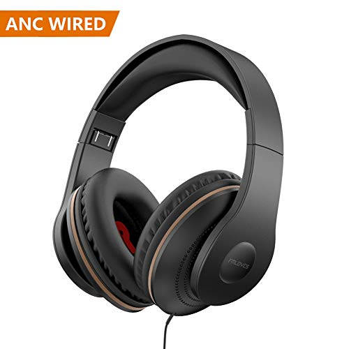 Active Noise Cancelling Headphones Wired, ANC Over Ear with Mic, Sound Cancelling Headphones Foldable Lightweight, Deep Bass Headset 20 Hours for Travel and Office TV Phone – Black from FMLOVES