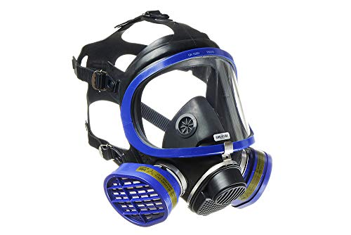 Dräger X-plore 5500 Full-Face Respirator Mask + 2x Gas Cartridge OV/AG/HF/FM/CD/AM/MA/HS, NIOSH Certified, Eye and Respiratory Protection Kit, Anti-Fog, 180° Field of View, Universal Size