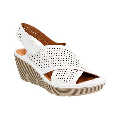 Clarks Narrative Clarene Award Women Open Toe Leather Wedge Sandal White cheap wholesale sale high quality 040Mv7Aq