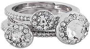 D EXCEED Womens Paved Crystal Diamond Pattern Stackable Cocktail Ring Set of 3 Pieces