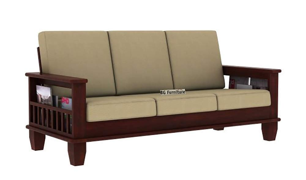 Tulsi Art Solid Wooden Sofa Set 3 Seater Furniture Wood 3 Seater Sofa Set Teak Wood Furniture Sofa Set 3 Seater For Home Living Room With Cushions Wooden Sofa Set Mahogany Finish
