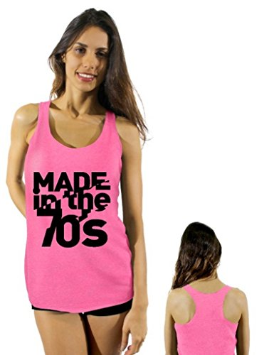 [Awkwardstyles Made in the 70's Black Logo Sayings Racerback tank tops + Bookmark L Vintage Pink] (70s Workout Clothes)