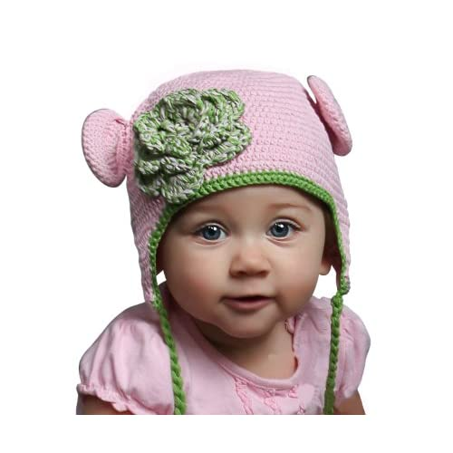 Melondipitys Pink Flower Beanie with Matching Pink Booties for Newborn Girls Set