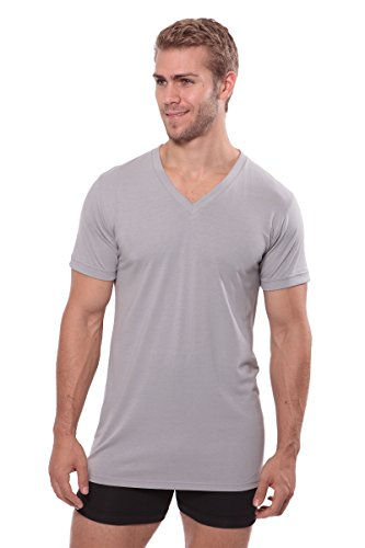 Texere Men's V-Neck Luxury Undershirt (Meio, Light Gray, MT) Solid Under Shirts