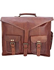 Second May 15 Inch Vintage Handmade Leather Messenger Briefcase Laptop Bag