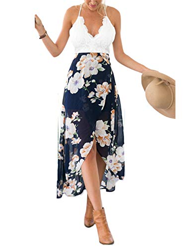 Blooming Jelly Women's Deep V Neck Sleeveless Summer Asymmetrical Floral Maxi Dress, White/blue, Large