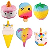 Satkago Squishies Slow Rising, 6 Pcs Jumbo Squishy Set Cream Scented Stress Relief Toy