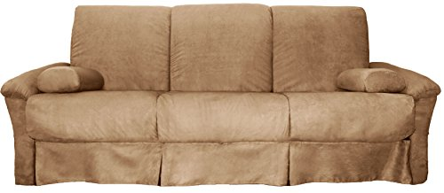Epic Furnishings Tango Perfect Sit & Sleep Pocketed Coil Inner Spring Pillow Top Sofa Sleeper Bed, Queen-size, Microfiber Suede Khaki Upholstery