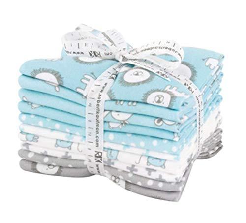 Penned Pals Flannel Fat Quarter Bundle 10 Precut Cotton Fabric Quilting FQs Assortment Blue Colorstory by Ann Kelle for Robert ()