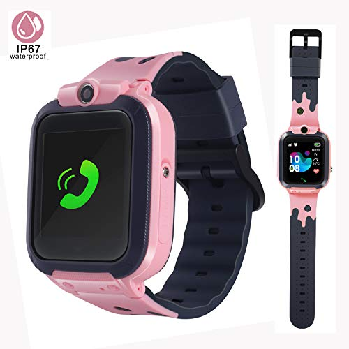 LTAIN Kids Smartwatch Waterproof Smart Watch for Kids with GPS Tracker SOS Camera Alarm Clock Security Zone Voice Chat Smartwatch for Kids with Phone Birthday Gift for Girls Boys Age 6-14(Pink)