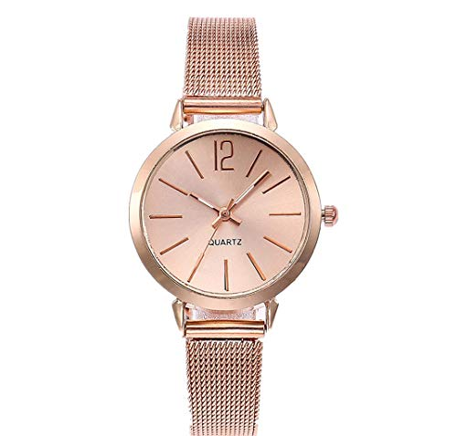 (WoCoo Analog Quartz Wristwatch for Women - Simple Dial Watches with Stainless Steel Mesh Band - Gift for Her(Rose Gold))
