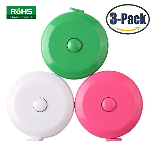 BUSHIBU Pink green white 3 pcs150 cm 60 Inch Push Button Soft Retractable Tape Measure Handy Pocket Tape Measure Double-Sided Tailor's Measuring Tape (Measure Tape Plastic)