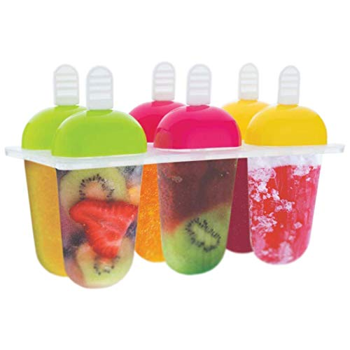 Fariox Plastic Reusable Popsicle Molds Ice Pop Makers Ice Pop Molds Kulfi Maker Mould, Candy Maker Plastic Popsicle Mold, Kids Ice Cream Tray Holder (Set of 6) Price & Reviews