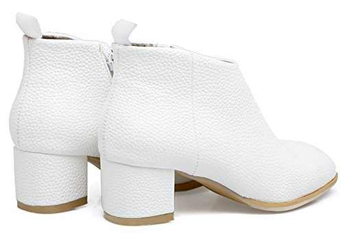 Aisun Womens Dressy Simple Inside Zip Up Square Toe Booties Chunky Mid Heels Ankle Boots With Zipper White PEN9Ew