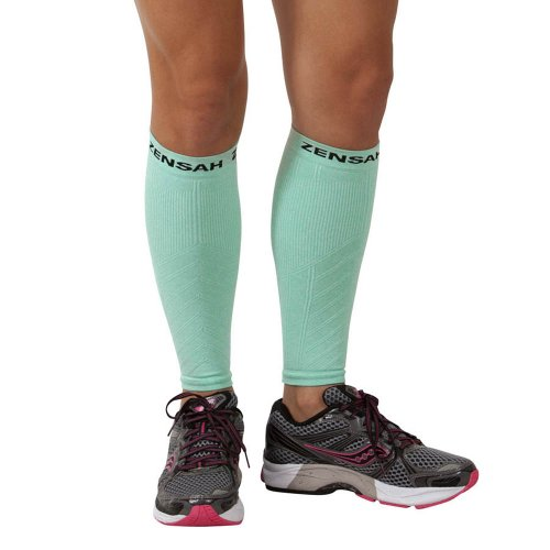 Zensah Compression Leg Sleeves, Heather Mint, Small/Medium