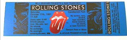 1981 10/17 Rolling Stones Blue Holofoil Ticket San Francisco, CA