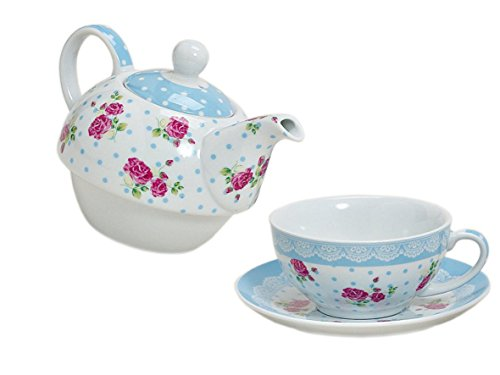 Tea for one ~ Rose blau ~ Set Teetasse mit Kanne Teekanne mit Tasse