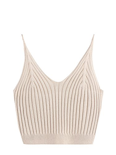 (SweatyRocks Women's V Neck Spaghetti Strap Cami Tank Top Apricot One Size)