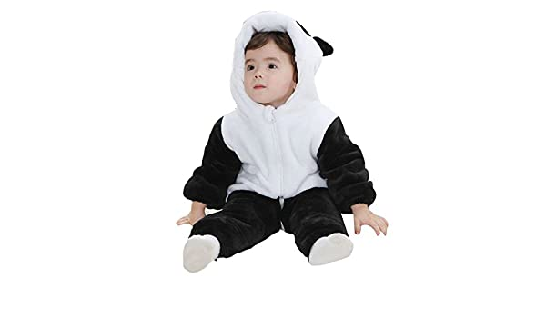Suyu Unisex Baby Flannel Cartoon Panda Jumpsuits Rompers