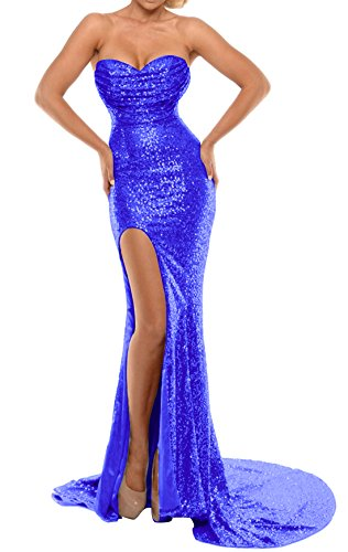 2018 with BEAUTBRIDE B New Sexy Royal Evening Sequins Mermaid Slit Blue Women's BEFM01 Dress 88xqSYn