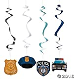 Police Party Hanging Swirls - 12 ct