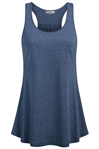 - Ouncuty Workout Tank Tops for Women,Womens Fitness 1X Tunic Tanks Sleeveless Empire Wasit Tunics Juniors Summer Activewear Ladies Running Top Loose Fit Scoop Neck Sleeveless Shirt Dark Blue XL