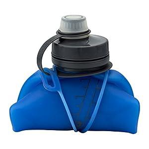 Nathan NS4329 Flexshot Soft Silicone 34oz Narrow & Wide Mouth Bpa Free Water Bottle, Electric Blue, 34 oz/ 1L