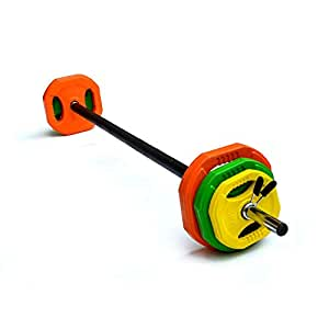 20kg Standard Rubber Coloured Barbell Pump Set with Foam Grip Home Gym Weight Lifting Strength Training Bodybuilding Weightlifting Workout and Exercise
