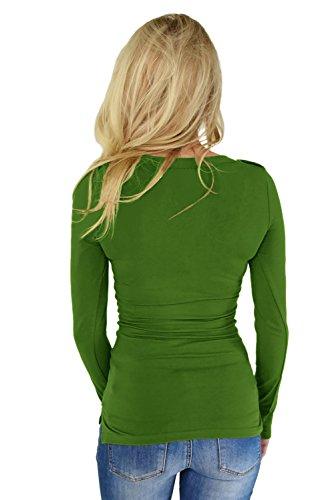 New Green Button pullover a maniche lunghe con tasche camicetta estate camicia top casual Wear taglia UK 8EU 36