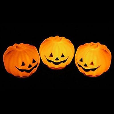 1Pc Paramount Popular Halloween LED Nightlight Lantern Decor Props Pattern Round Pumpkin Color Orange
