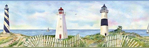 Chesapeake BBC46071B Eugene Light Coastal Lighthouse Portrait Wallpaper Border, Blue