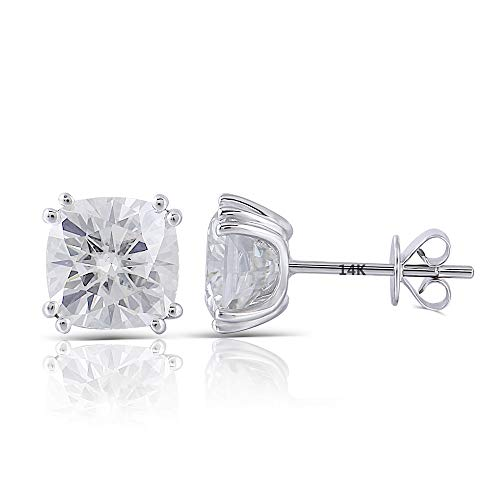 DovEggs Solid 14K White Gold 2ct 6X6mm G-H-I Color Cushion Cut Moissanite Stud Earring Push Back for Women