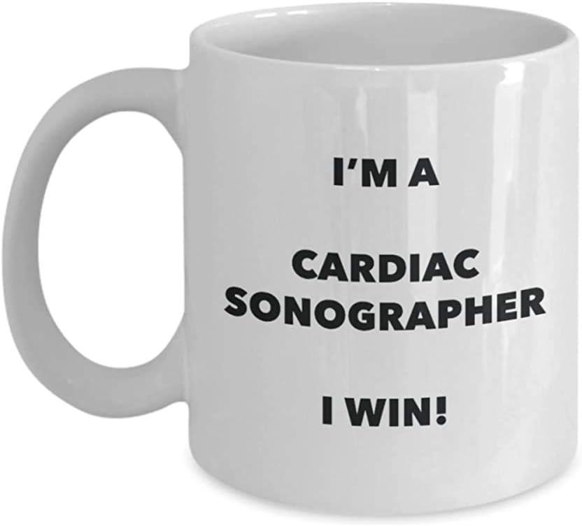 Taza del ecografista cardíaco-¡Soy un ecografista cardíaco que gano!-Taza de café divertida-Novedad Cumpleaños Navidad Gag Regalos Idea