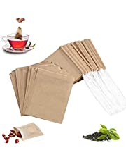 100Pcs Disposable Tea Filter Bags with 100% Natural Sustainable Unbleached Paper Filter Tea Bags for Loose Leaf Tea 3.54 x 2.75 inch (100pcs natural color)