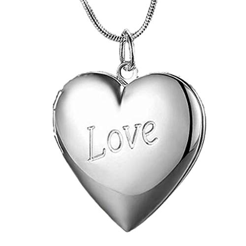 Fashion Love Heart Shaped Photo Locket Necklace That Holds Pictures Engraved Love Pendant Necklaces for Girls Women Mother Birthday Jewelry
