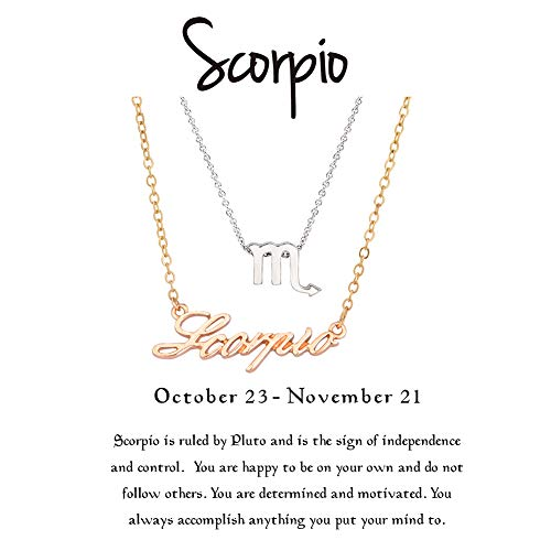 (Cyberny Best Friend Zodiac Sign Scorpio Necklace for 2 Gold & Silver)
