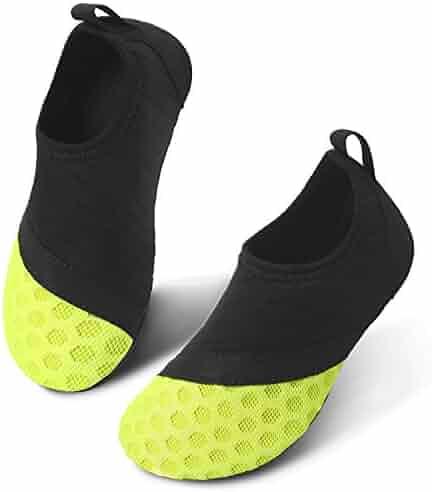 JIASUQI Barefoot Athletic Water Shoes Socks for Kids Boys Girls Black Yellow US 6-7 M Toddler