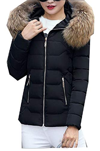 EKU Women's Faux Fur Hooded Warm Winter Outwear Parka Downs Puffer Coat 1