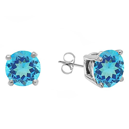 18K White Gold 5.5 MM Each Round Blue Topaz Ladies Solitaire Stud Earrings Blue Topaz Color Solitaire